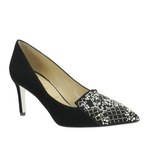 Ron White | Suede Cadence Crystal Low Stiletto